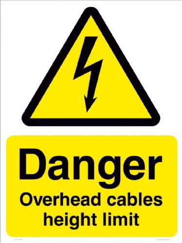 Danger Overhead cables height limit sign